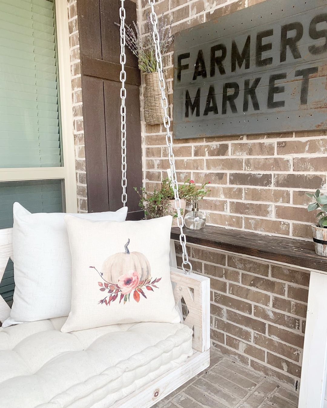 Fall patio farmhouse decor fall throw pillows porch