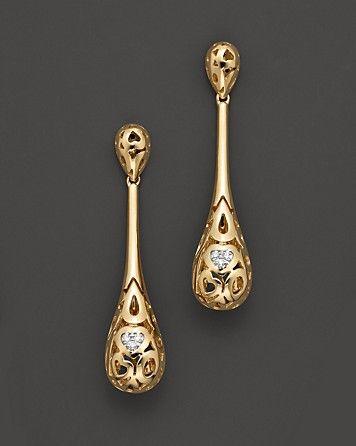 "Roberto Coin 18 Kt. Yellow Gold ""Mauresque"" Diamond Teardrop Earrings | Bloomingdale's"