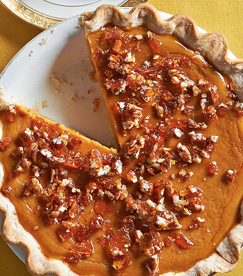 Maple-Pumpkin Pie with Salted-Pecan Brittle.... did not like, will stick to regular p.pie..cs