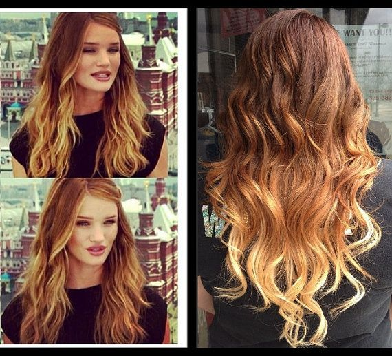 Ombre Hair Extensions, Dark Blonde Ombre Hair, Light Brown Ombre Hair,  Caramel and