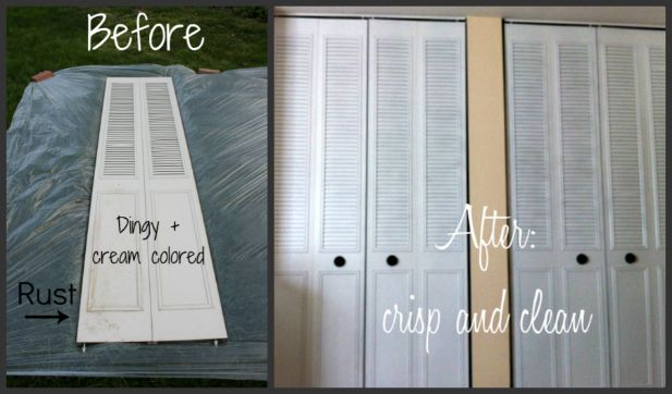 One Of My Favorite Parts Of Our Budget Bedroom Makeover Is The Closet Door Transformation You Can See A Vide Painted Closet Closet Door Makeover Door Makeover