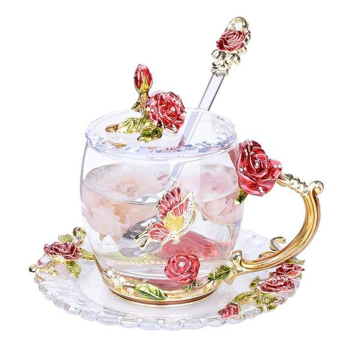 Eco-Friendly Heat Resistant Glass Mug With Spoon For Coffee, tea #teamugs