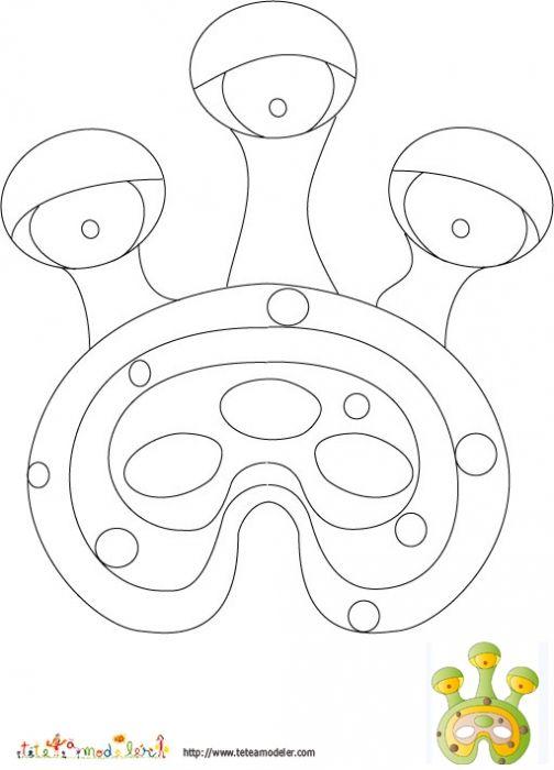 Imprimer le modele du masque d 39 extraterrestre a colorier idees anniv - Coloriage masque a imprimer ...