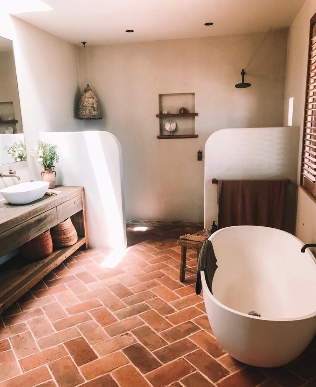 Josh And Elyse On Instagram Obsessed With These Terracotta Bricks For The Floor Rendered Walls Cu In 2020 Spanish Style Bathrooms Bathroom Interior Bathroom Design