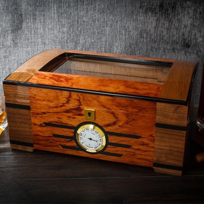lubinski humidor  LUBINSKI Lacquer Cedar Wood Glass Cigar Humidor With Lock Hygrometer ...