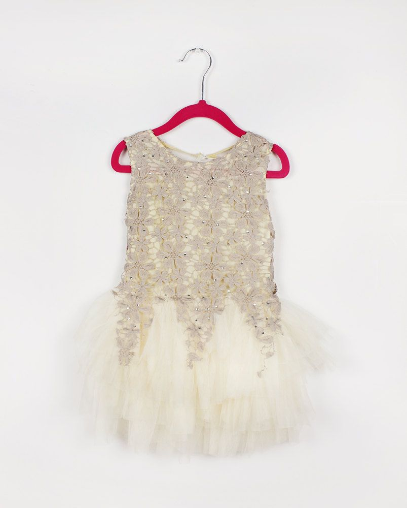 Flower girl dress birthday wedding party bridesmaid tulle beige