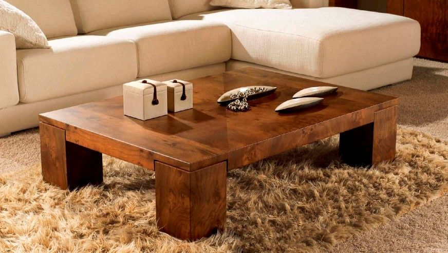 Furniture, Small L Shaped Sofa Design Feat Contemporary Wood Coffee Table  And Comfy Chocolate Fur - Furniture, Small L Shaped Sofa Design Feat Contemporary Wood
