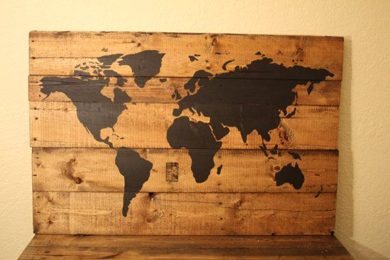 BLACK coloured Pallet wood, repurposed, travel, canada map ...