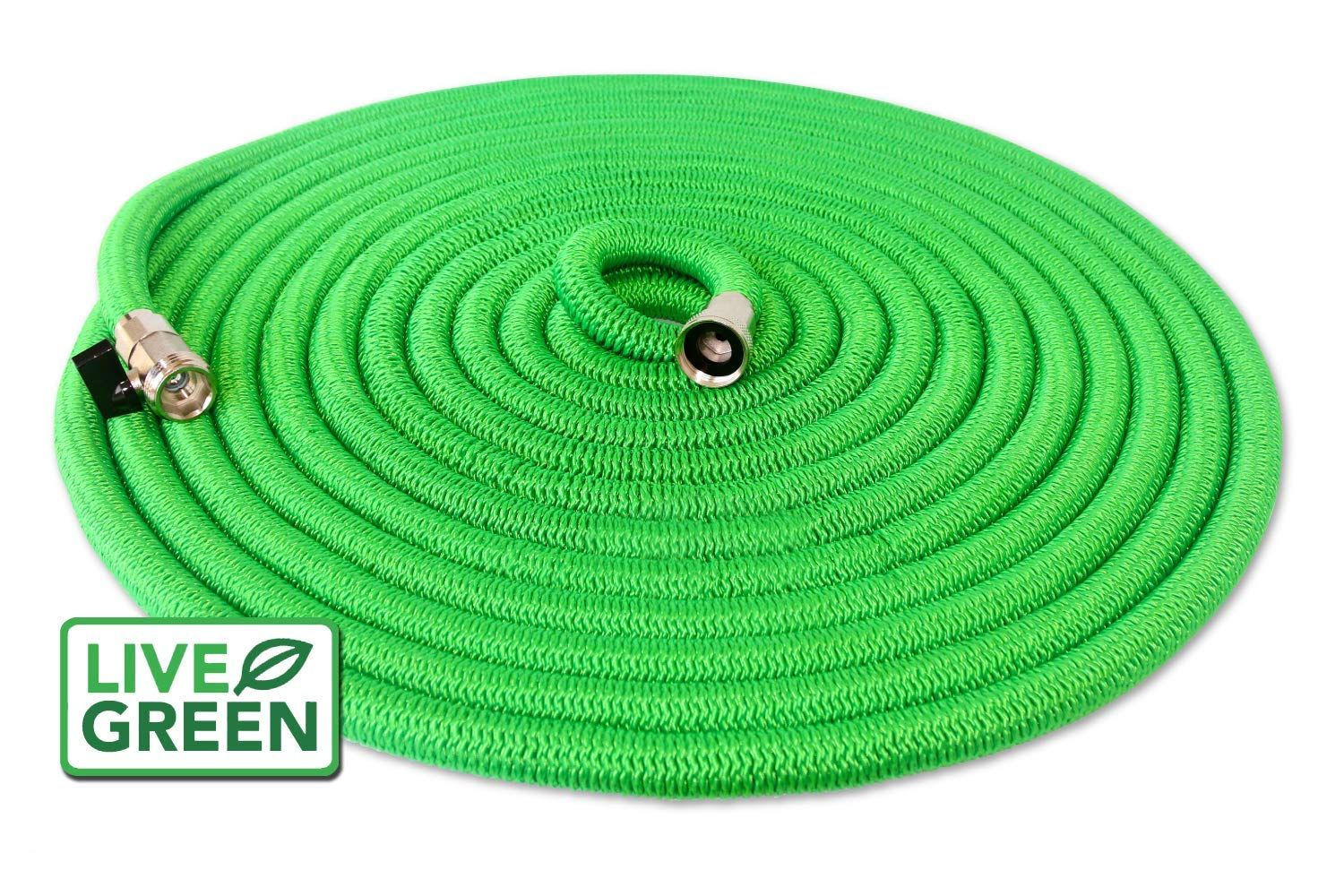 Heavy Duty 100 Ft Green Expandable Garden Hose All New Design Lifetime Warranty Nickel Plated Brass Fittings Nozzle Inc Garden Hose Hose Brass Fittings
