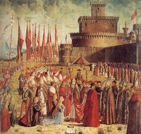 Vittore Carpaccio - Papa Ciriaco riceve i pellegrini davanti alle mura di Roma, 1491 ca.. Venezia, Gallerie dell'Accademia
