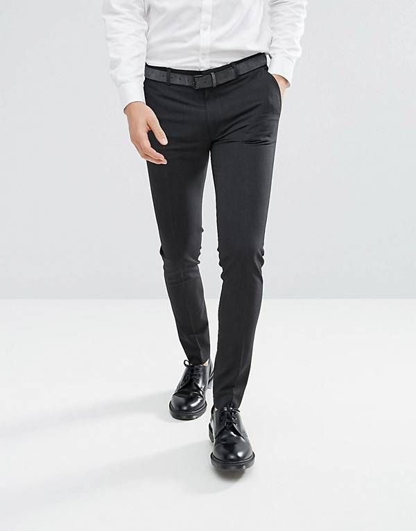 b130fbac1c45 ASOS Super Skinny Smart Trousers In Charcoal