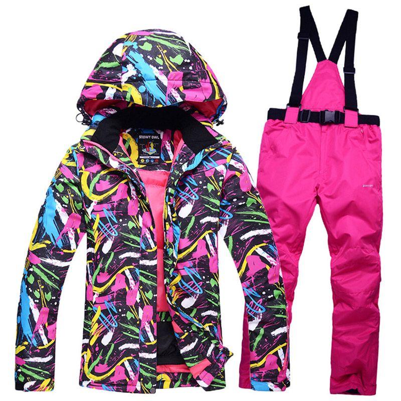New Cheap Snow suit sets Women Snowboard Clothes Waterproof Windproof Warm  Winter Coat Ski suit sets Jackets + Bib pants 85f82483b