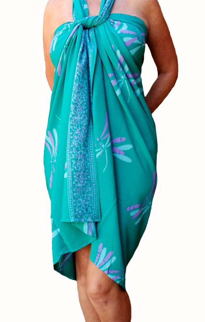 61d37d3105ddb PLUS SIZE Clothing Dragonfly Sarong Dress Beach Wrap Skirt - Batik Sarong  Plus Size Dress - Aqua Green & Purple Beach Cover Up - Swimwear by PuaWear  on Etsy