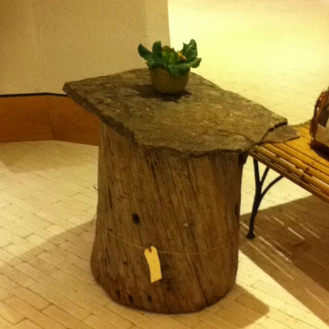 Tree trunk and rock top table...great way to use left over slabs of granite or marble..Danica