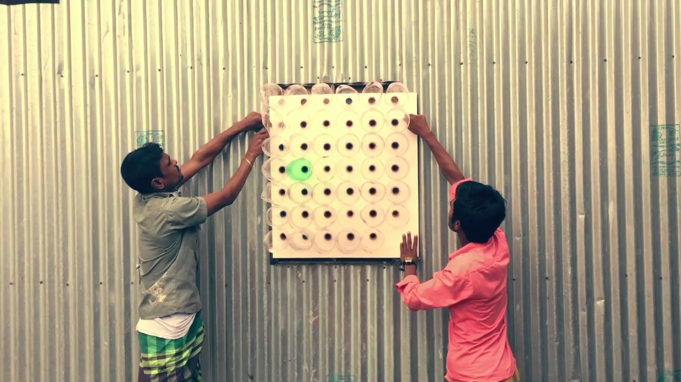 The Zero Electricity Air Cooler made by Plastic Bottles