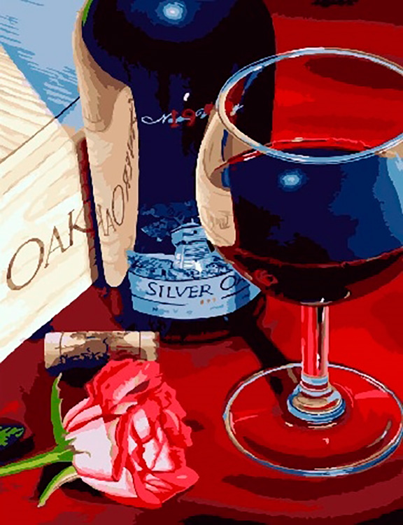 Картина по номерам «Бокал красного вина» | Картины, Бокал ...