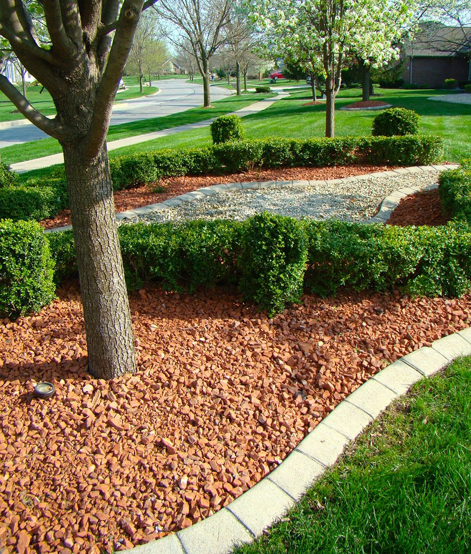 Red Brick Chips Indianapolis Decorative Rock Mccarty Mulch Front House Landscaping House Landscape Landscape Design