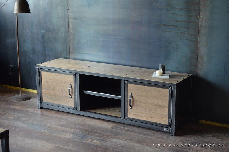 Meuble De Style Industriel Table Basse Meuble Tv Micheli Design Mobilier De Salon Meuble De Style Meuble Tv Style Industriel