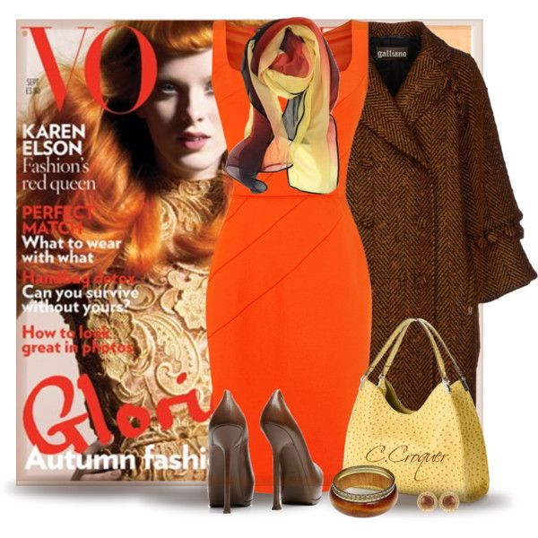 """""""Orange Dress For Autumn"""" by ccroquer on Polyvore"""
