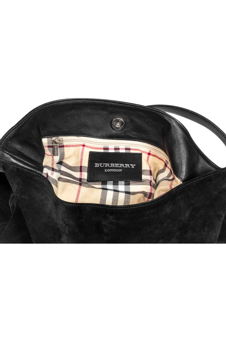 Burberry  Black Suede Hobo w Silver Horn Accent