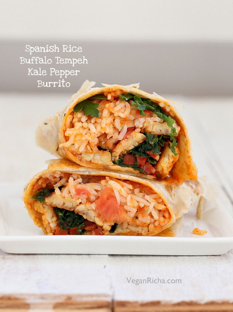 Spanish Rice Buffalo Tempeh Wrap With Kale Bell Pepper