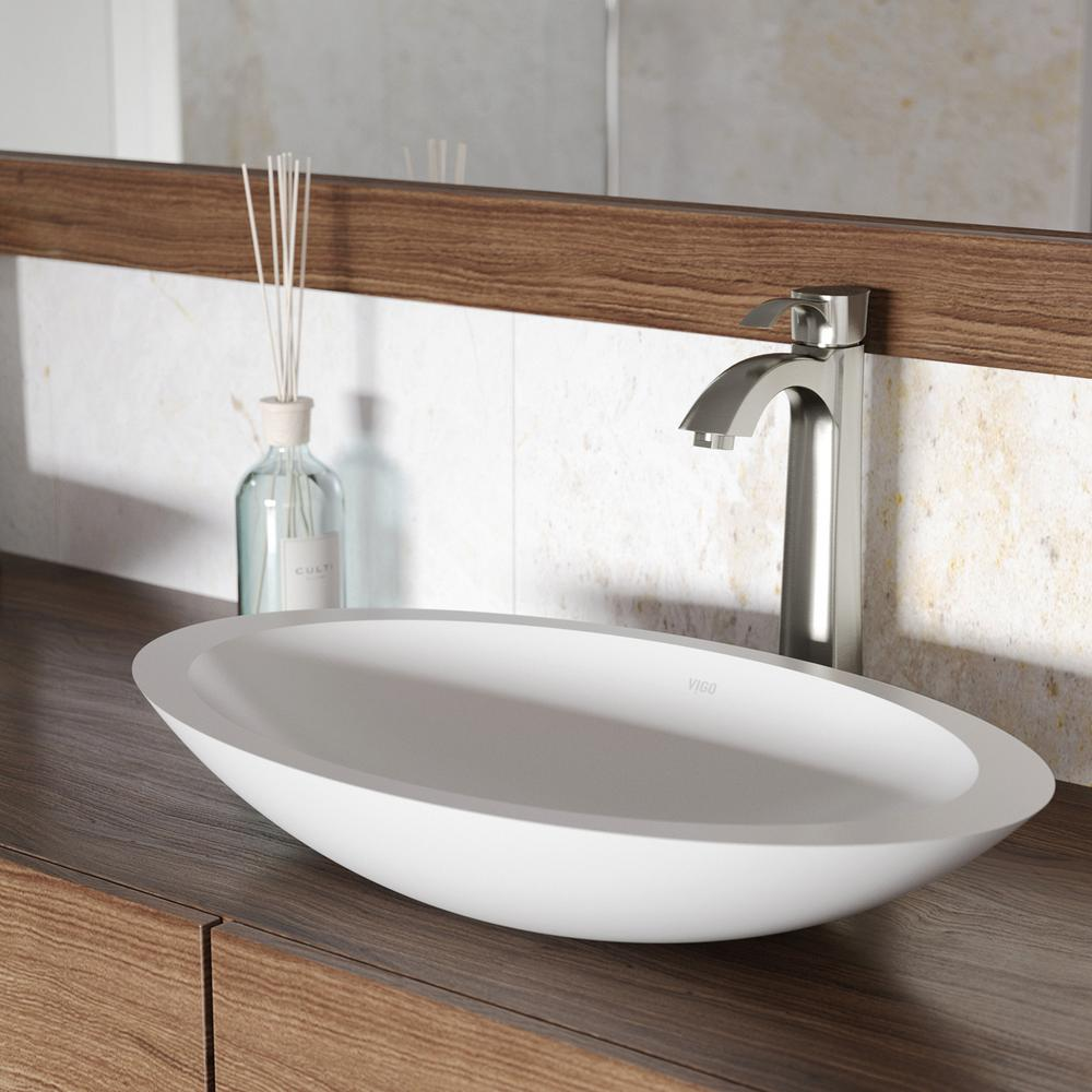 Vigo White Wisteria Matte Stone Vessel Bathroom Sink In White With Otis Vessel Faucet In Brushed Nickel Matte White