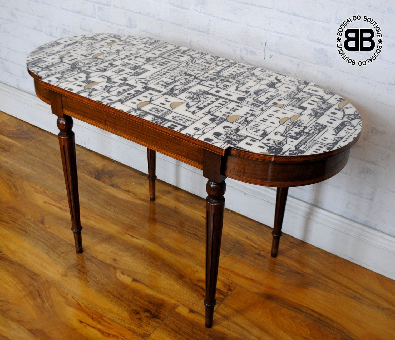 Stunning Upcycled Vintage coffee table with Fornasetti decoupage