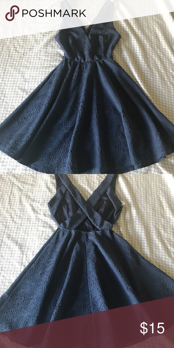 A'gaci Navy blue short dress w/ cris cross back Navy blue | size S | criss cross back| detailed pattern all over | only wore it once , no tears or stains   *smoke free home* a'gaci Dresses Midi #navyblueshortdress