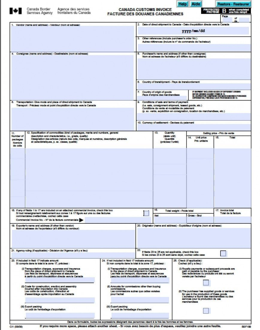Commercial Invoice For Customs Invoice Template Business
