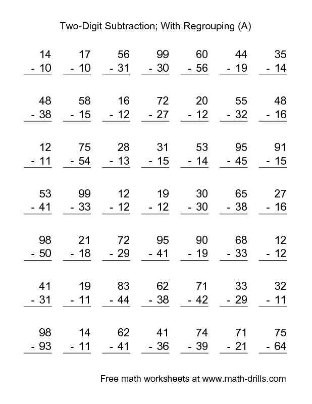 Subtraction Worksheet -- Two-Digit Subtraction with Some Regrouping ...