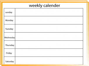 Free Weekly Printable Calendar  Orange Lined Border Weekly