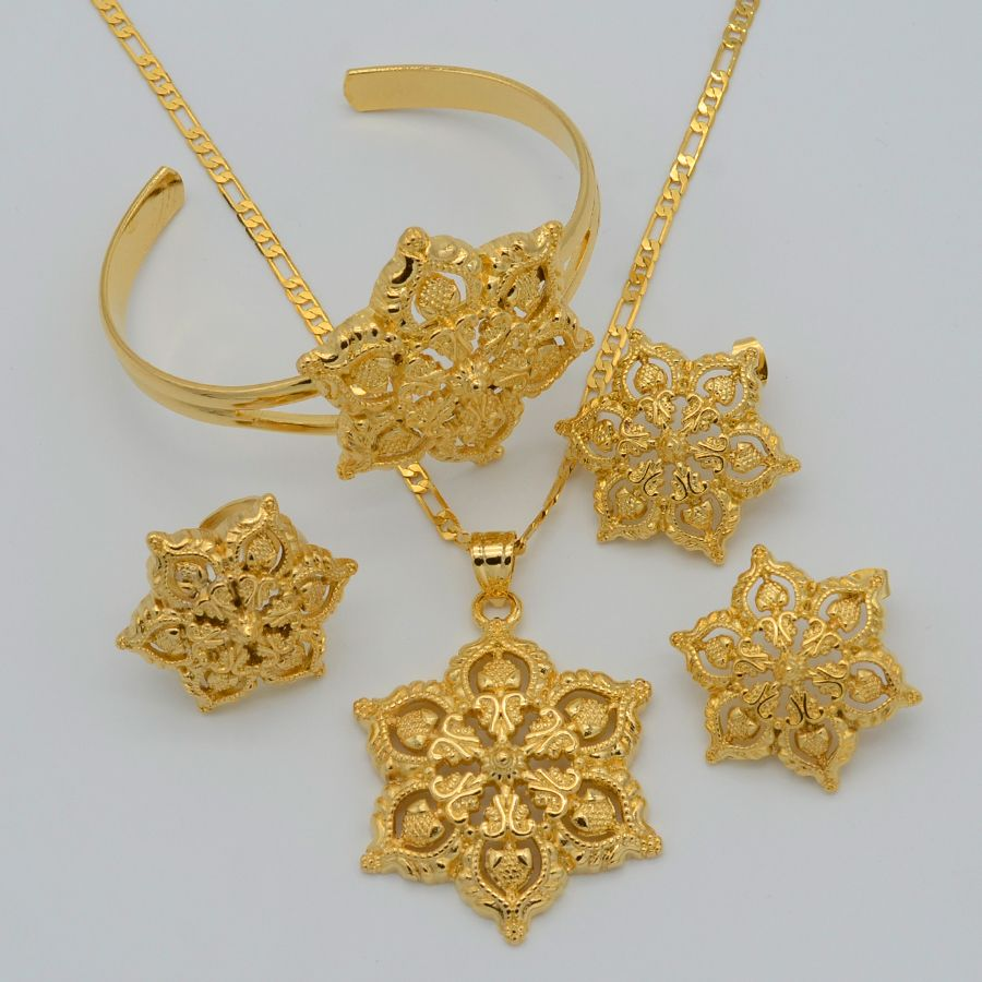 Gold Flowers set Jewelry Women Gold Plated Pendant NecklaceEarrings