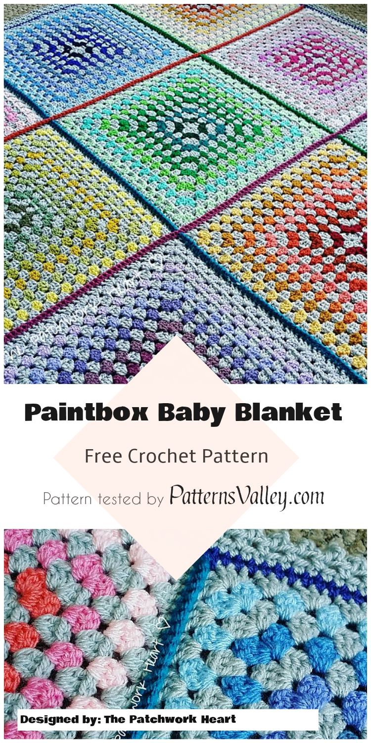 Paintbox Crochet Baby Blanket - Free Pattern #paintbox ...