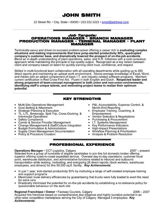 Plant Manager Job Description Operations Manager Resume Job