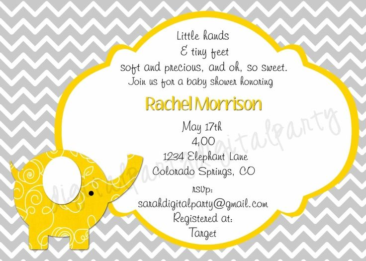 Teal Yellow And Greybaby Shower Invites Grey Elephant Baby