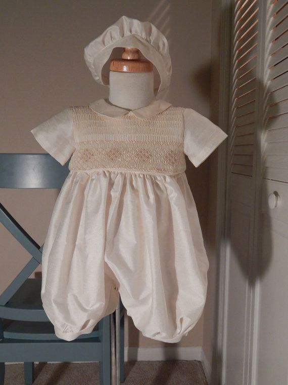 7c89d02ae Boy Christening Romper with Detachable Gown Ivory by SUMACLOTHING