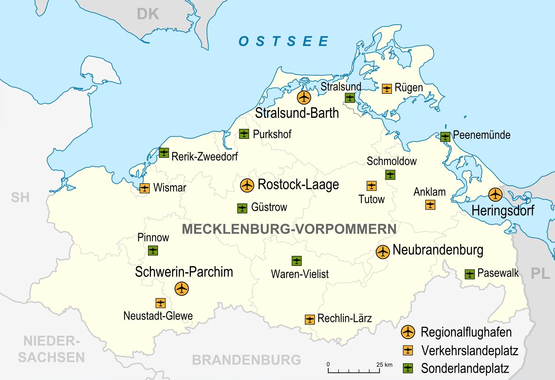 MecklenburgVorpommern Flughäfen Und Landeplätze Map Germany - Germany map airports