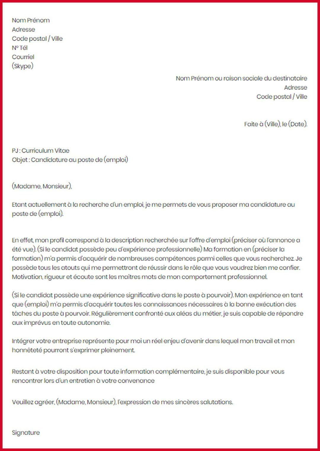 Lettre De Motivation Exemple Type Modele Gratuit De Lettre Motivation Letter For Job Motivational Letter Job Motivation
