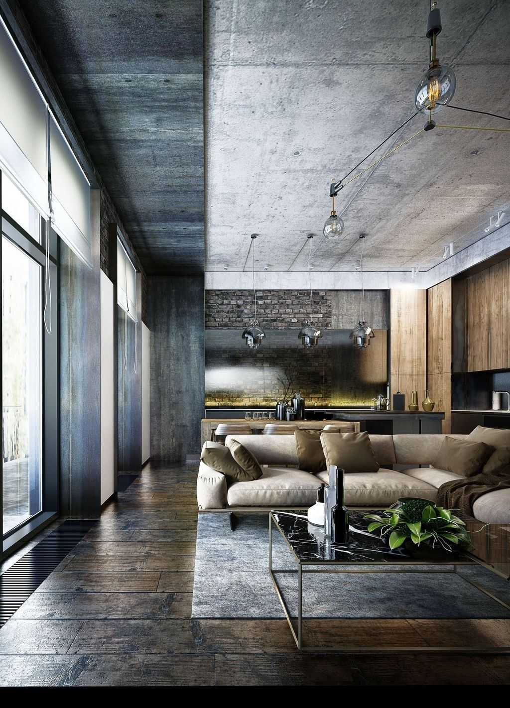 20 Stunning Industrial Style Living Room Design Ideas