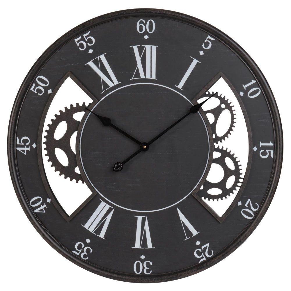 Wanduhr Mit Raderwerk Schwarz Und Weiss Maisons Du Monde Wanduhren Uhren Wande