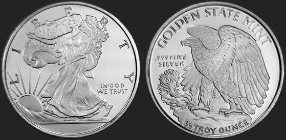 1 2 Oz Walking Liberty Fractional Silver Round 999 Fine Silver Bullion Silver Rounds Silver