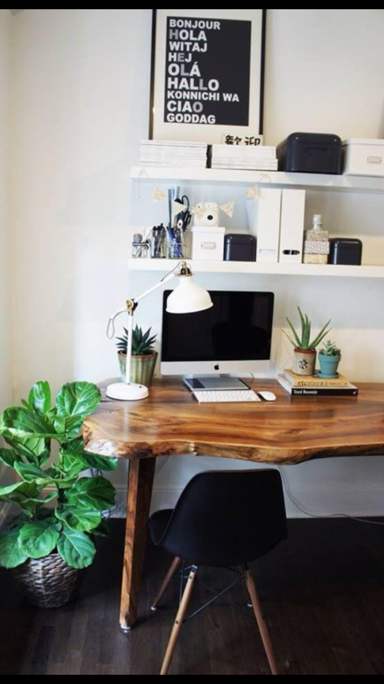 office space, wood desk with live edge, plant decor Home