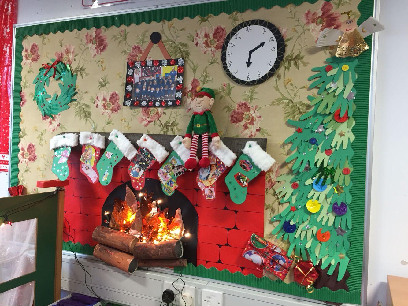 Eyfs Children School Display Christmas Fireplace Stockings Kids Christmas Classroom Christmas Art Christmas Display