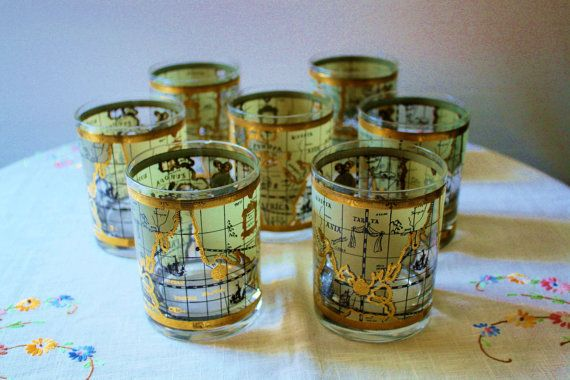 Vintage cera old world maps rocks glasses 22k by romantiquetouch vintage cera old world maps rocks glasses gold maps madmen mid century retro barware mens gift worldly old fashion lowball gumiabroncs Image collections