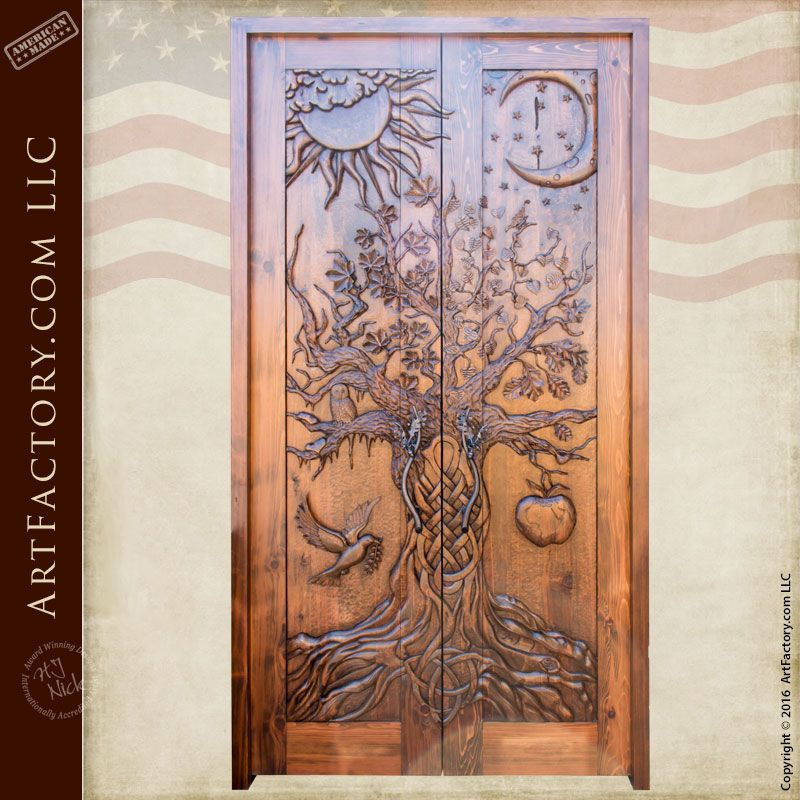 Hand carved wooden door spectacular tree of life for Hand carved wood doors