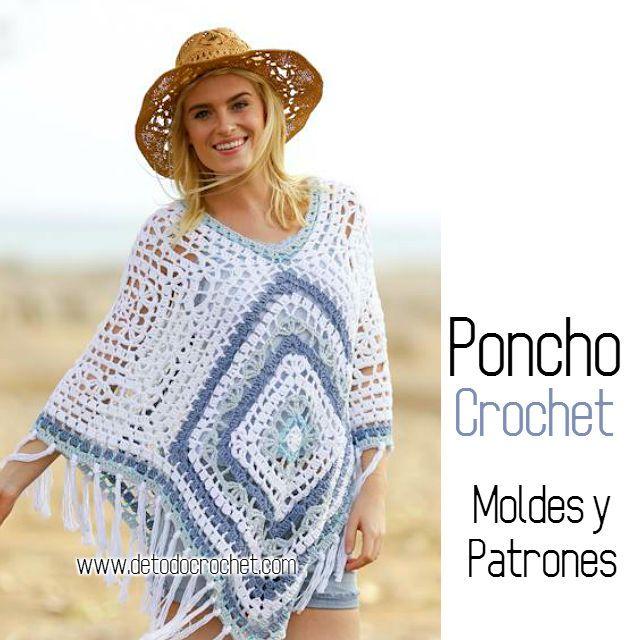 Poncho crochet calado patrones y moldes | Crochet 5 | Pinterest ...