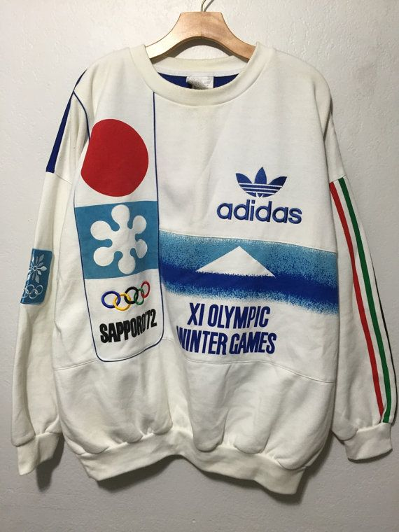 rare 80's vintage adidas sweatshirt olympic winter games sapporo size XL