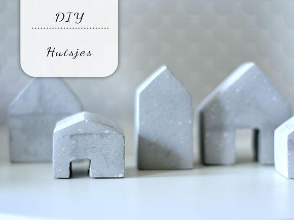 Diy: huisjes met betonlook huisjes van klei pinterest met