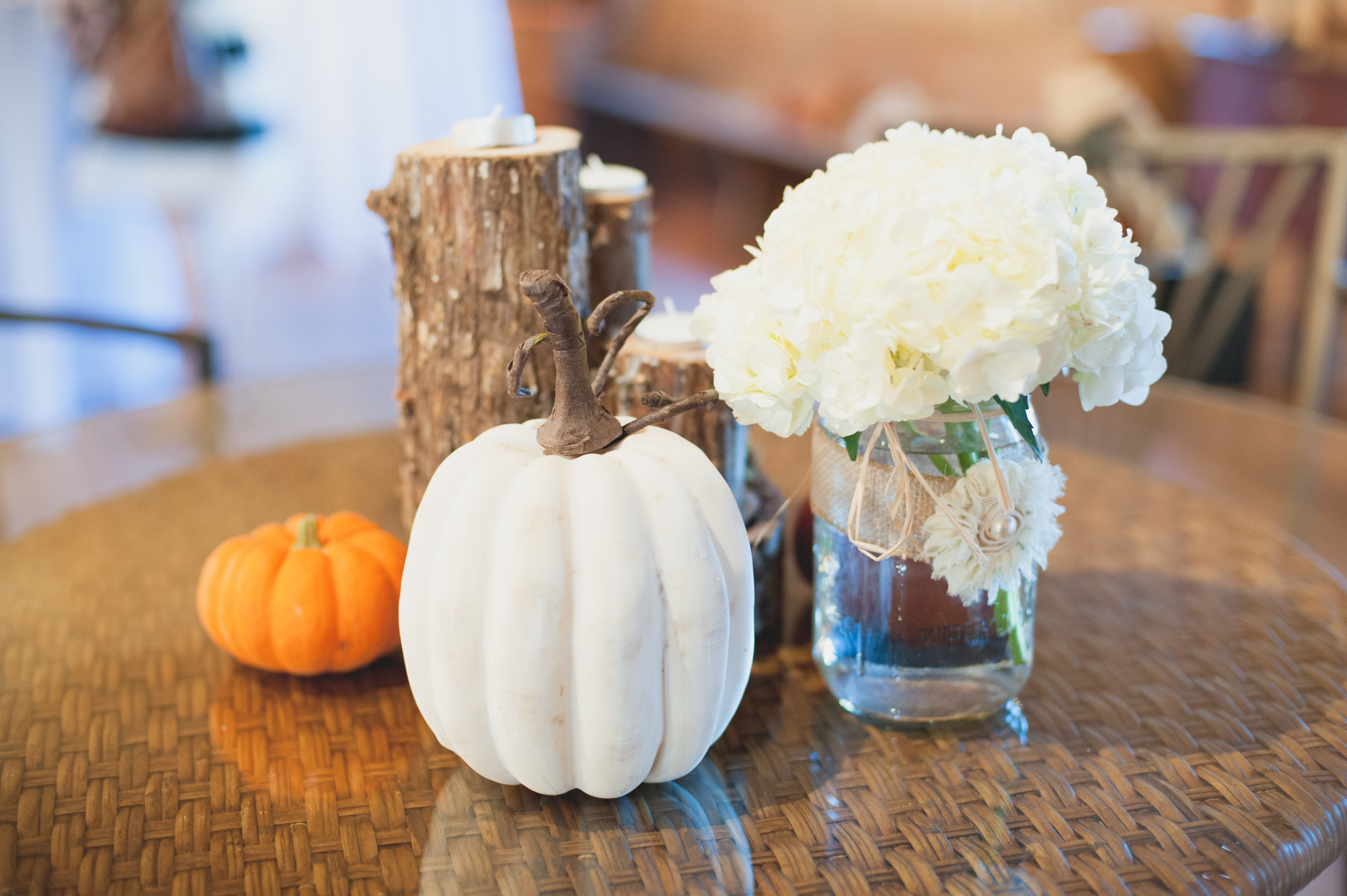 Seasonal pumpkin and mason jar centerpieces pat u lucyus wedding