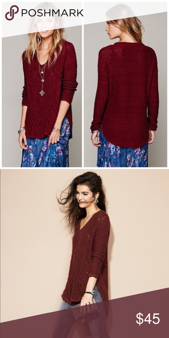 8e700462611ed  Free People  Cross My Heart Cable Knit Sweater Chunky oversized pullover  cable knit sweater in a deep wine red burgundy color.